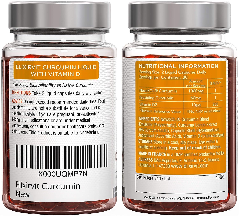 Elixirvit Curcumina líquida con vitamina D, 185 veces más biodisponible que la cúrcuma/curcumina típica - Absorción inmediata para aliviar las ...