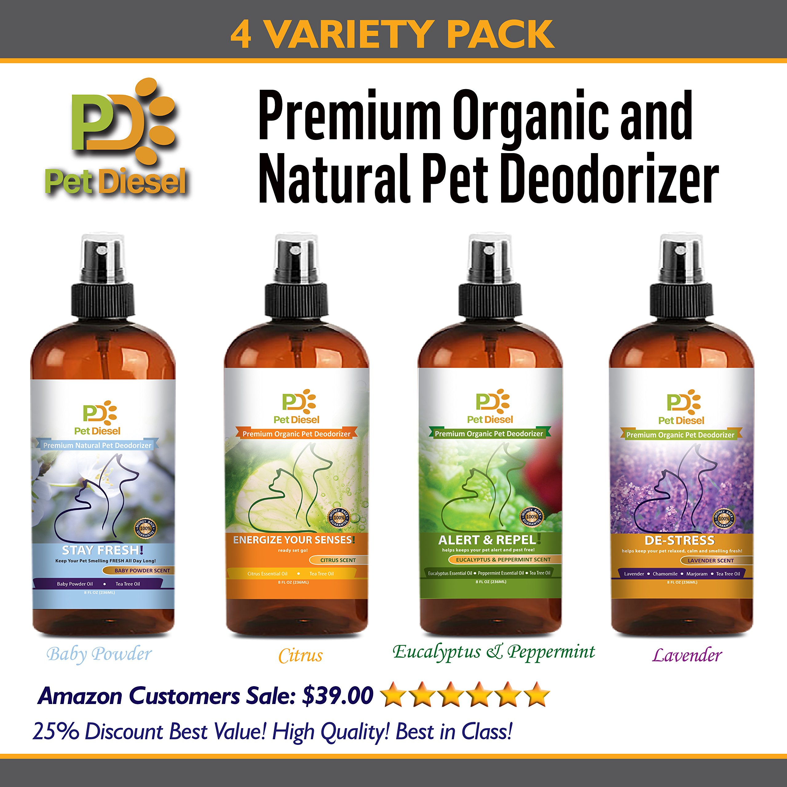 4 Value Pack | Pet Deodorizer | Pet Cologne | Pet Perfume | Aromatherapy for Pets | Eliminates Odors & Removes Bacteria w/Enzymes | Baby Powder | Lavender | Eucalyptus & Peppermint | & Citrus Scents by Pet Diesel