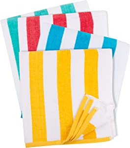 GREEN LIFESTYLE Cabana Stripe Beach Towel (30 x 60 Inches) - 100% Ring Spun Cotton Large Pool Towels, Soft and Quick Dry Swim Towels Variety Pack (Pack of 4) (Blue, Yellow, Green, Red)