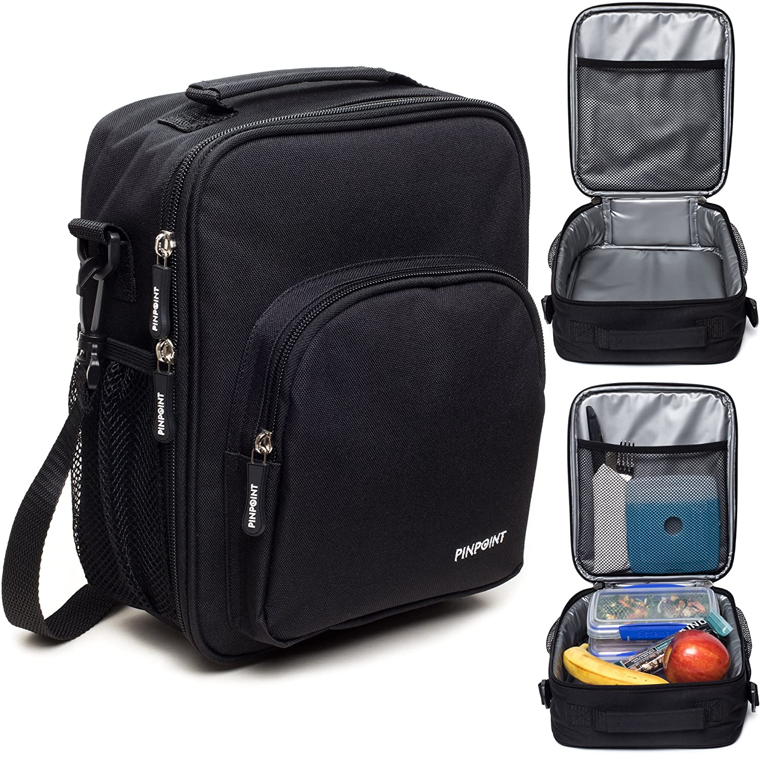 Insulated Thermal Lunchbox with Open Design - Classic Durable Lunch Box for Boys and Girls - Kids and Teens Lunch Box for School - Adults for Work or Office (Black)