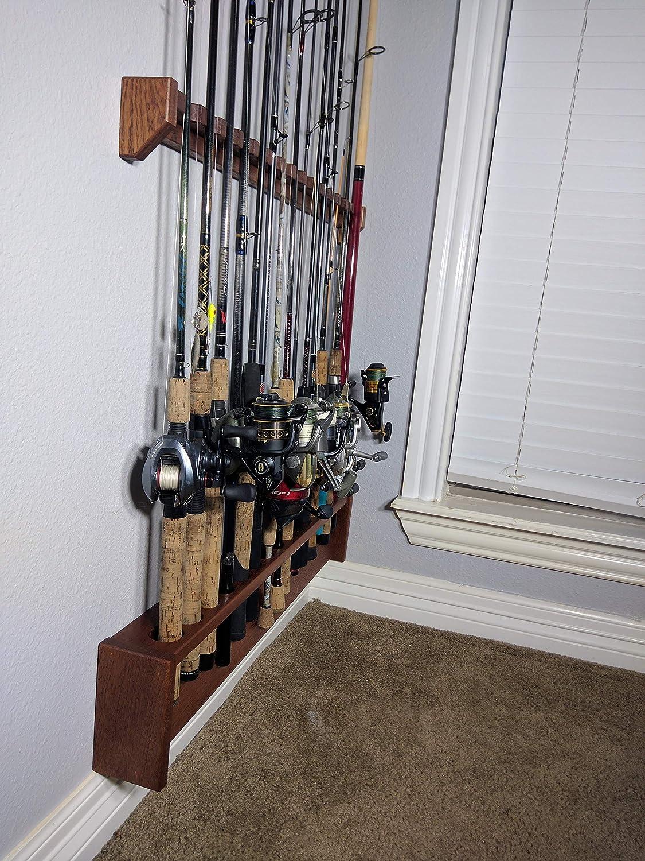 Amazon Com Fishing Rod Rack Wall Mount Pole Holder Solid Mahogany Wood Custom Built Made To Order Any Size Handmade
