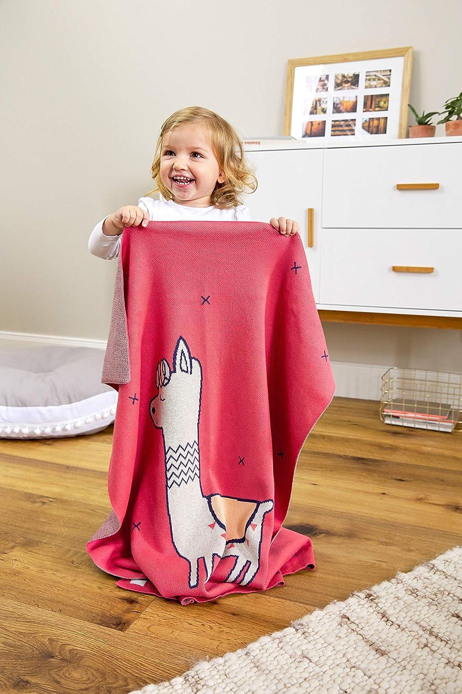 L/ÄSSIG Baby Krabbeldecke Strickdecke Spieldecke Schmusedecke Kuscheldecke GOTS zertifiziert weich//Baby Blanket Glama Lama