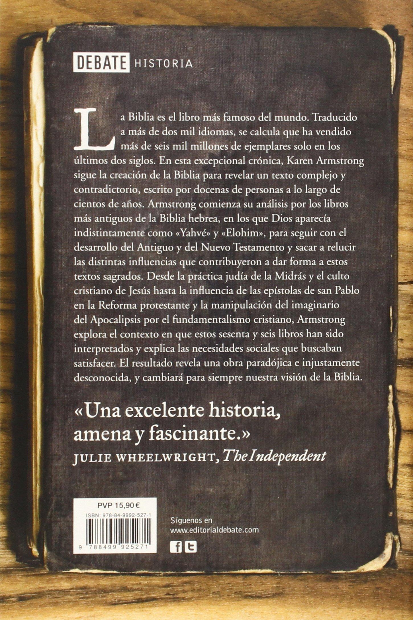 Historia De La Biblia (spanish Edition): Karen Armstrong: 9788499925271:  Amazon: Books