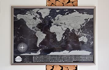 Scratchable map with silver frame detailed scratchable travel map scratchable map with silver frame detailed scratchable travel map gumiabroncs Choice Image