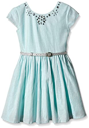 Yumi Girls Metallic Prom Dress (Mint), Green, 6 (Size:5