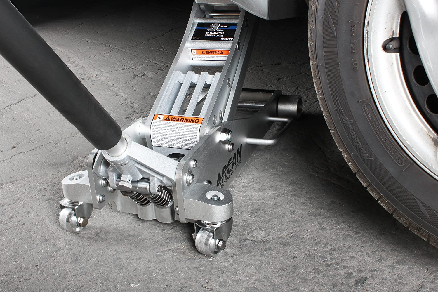 Aluminum Floor Jack Bypass and Overload Valves Dual Pump Pistons 3 Ton Capacity Reinforced Lift Arms 2 Piece Handle Vehicle Protection Lightweight Side Mount Arcan ALJ3T Meets ASME PASE-2014 Safety Standard