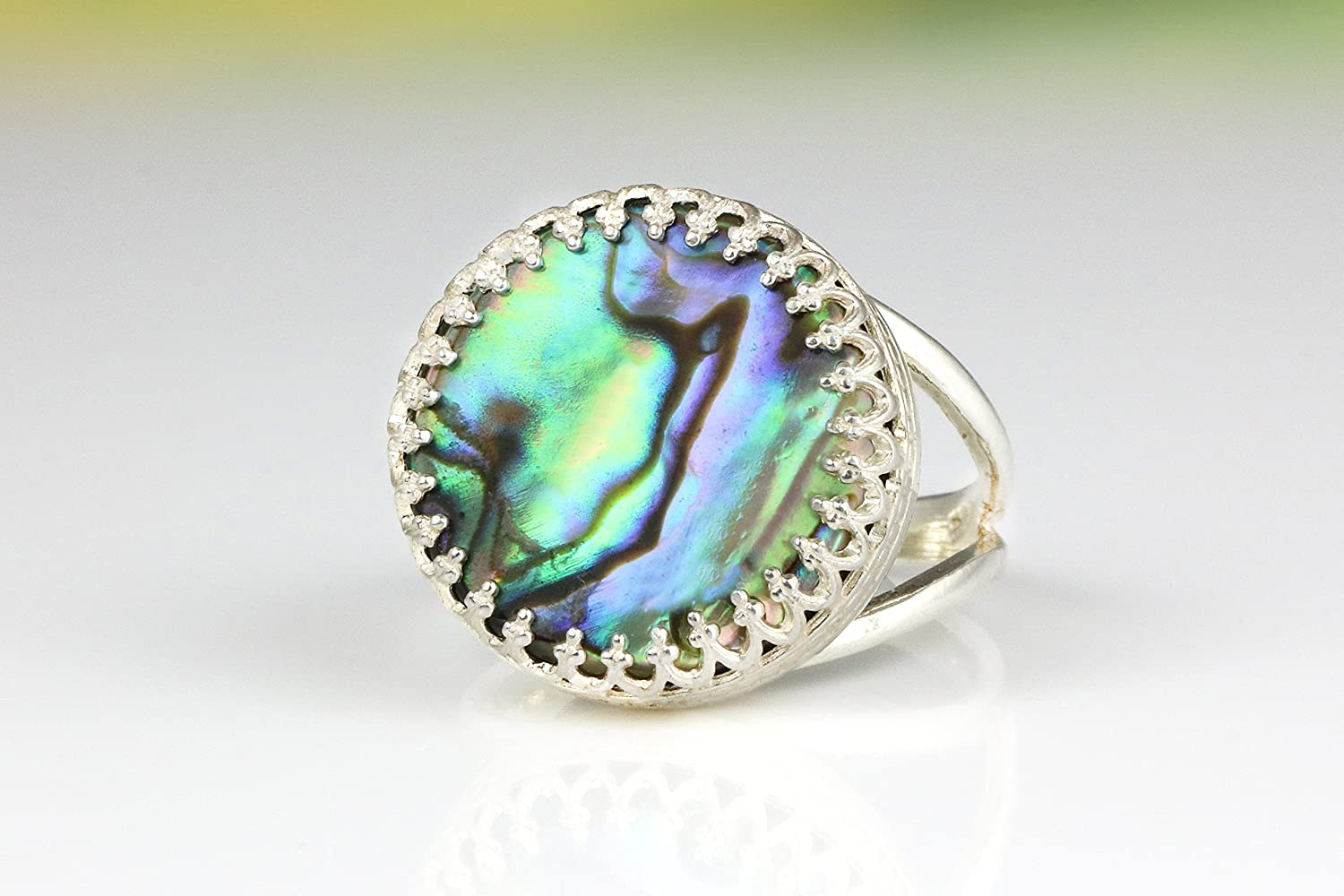 Abalone ring,shell ring,silver ring,double band ring,pearl ring,solitaire ring,stack ring,gemstone ring