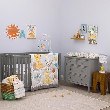 3 Piece White Yellow Brown Lion King Crib Bedding Set, Newborn Disney Themed  Nursery Bed