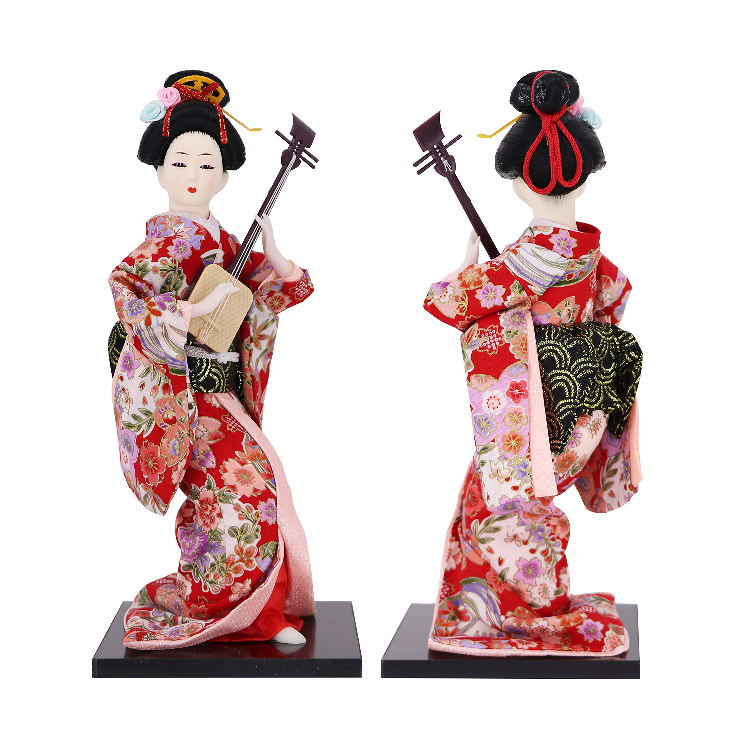 JG.BETTY 12'' 30cm Geisha Japanese Doll Folk Kimono Doll Maiko Doll Puppet Stand on Base for Decorative Home and Hotel Gifts Doll (Floral-JD0012-30) by JG.BETTY