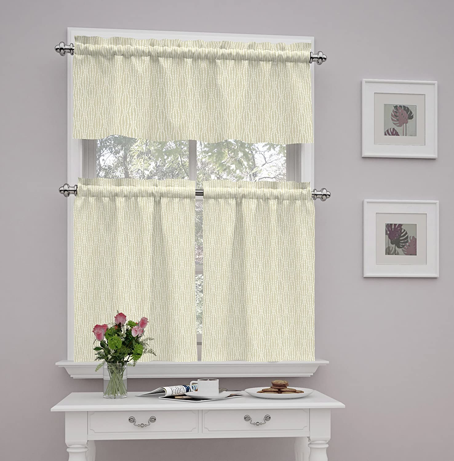 Traditions by Waverly Strands Tier and Valance Set, Birch Ellery Homestyles 14979056X036BIR