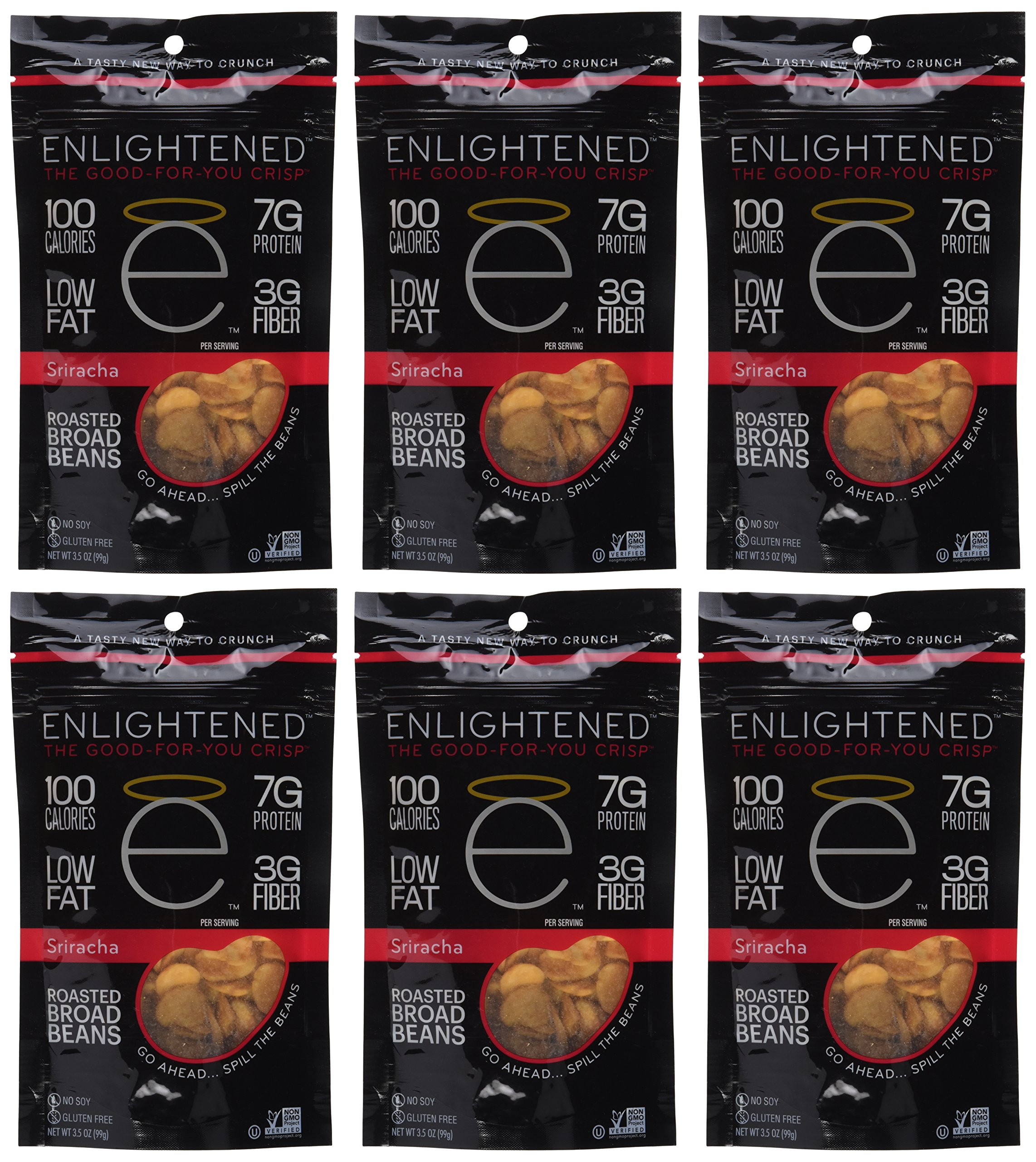 Enlightened Plant Protein Gluten Free Roasted Broad (Fava) Bean Snacks, Sriracha, 3.5 Ounce (Pack of 6) by Enlightened