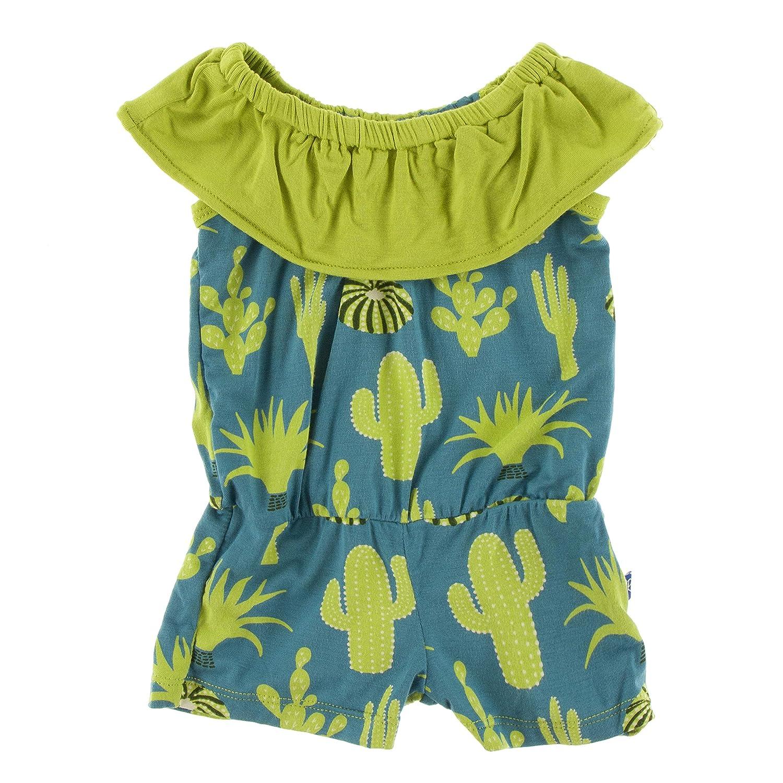 Kickee Pants Print Mexico Romper Seagrass Cactus - S-6//8