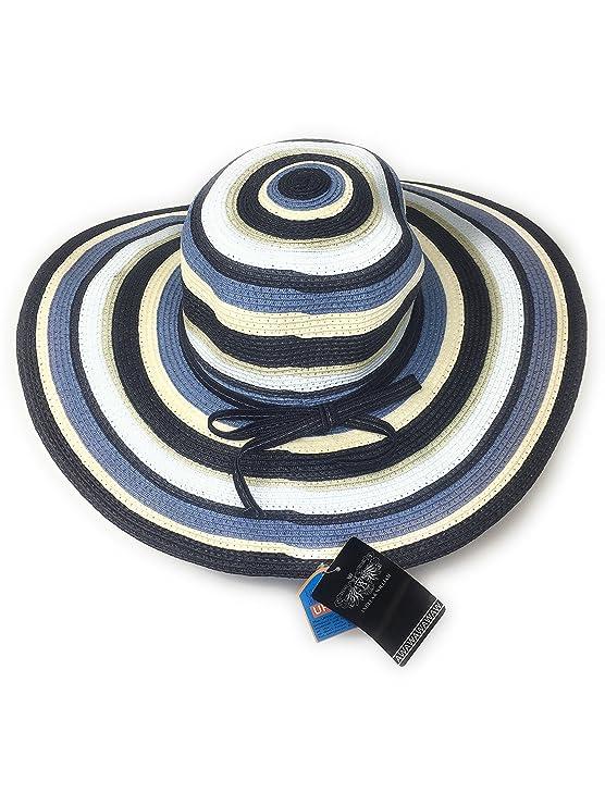 f3d6c46721d 50 s   60 s Lady s Stripy Straw Sun Hat  Bardot  Style - One Size- 12cm  Brim (Blue)  Amazon.co.uk  Clothing