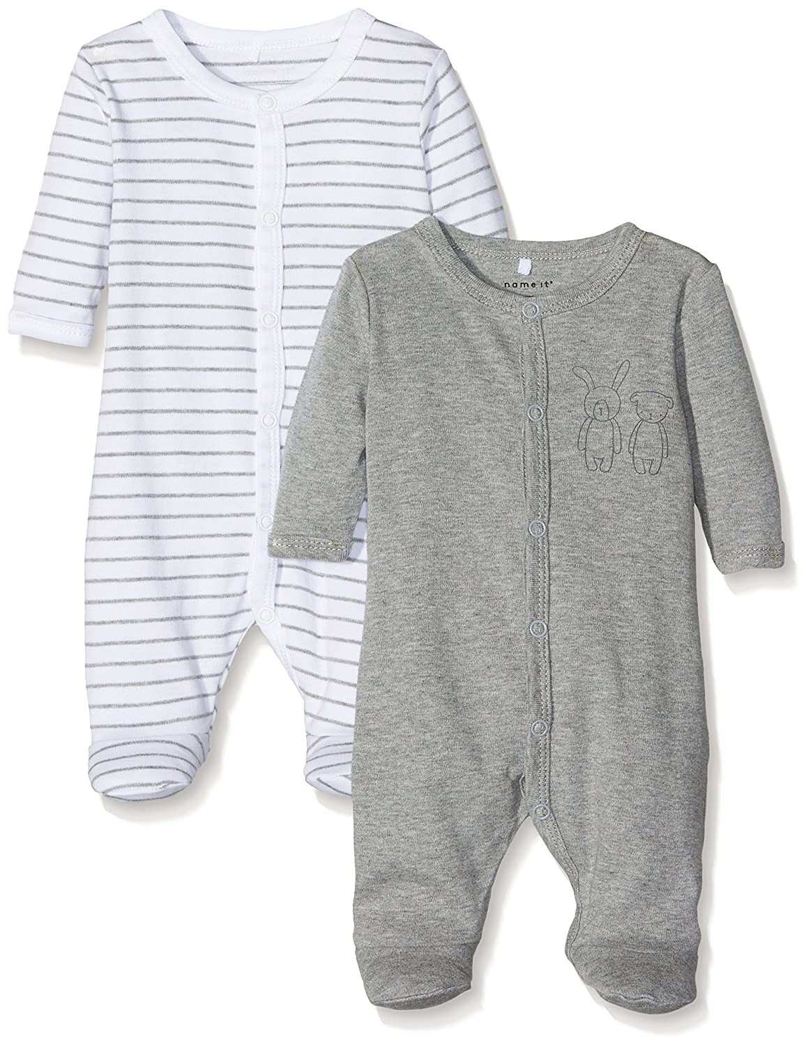 Name It Nbnnightsuit 2p W/f Grey Mel Noos, Pyjama Mixte Bébé (lot DE 2) 13145657