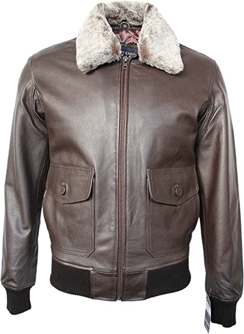 Brown Plain Fur Mens Leather Jacket Jet Fighter Bomber Air Force Pilot TOP GUN