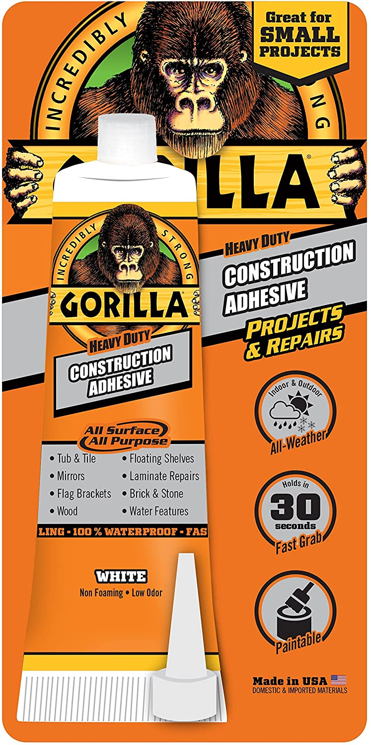 Gorilla Heavy Duty Construction Adhesive, 2.5 ounce Squeeze Tube, White