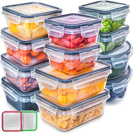 aa82b37c4284 Fullstar (12 Pack) Food Storage Containers with Lids - Black Plastic Food  Containers with Lids - Plastic Containers with Lids - Airtight Leak Proof  ...