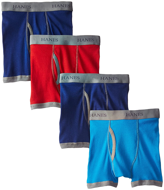Hanes Boys' 4 Pack Ultimate Comfort-Flex Ringer Boxer Briefs Hanes Boys 8-20 Underwear BU744R
