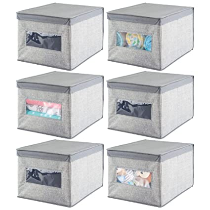 mDesign Juego de 6 cajas de tela – Cajas con tapa de polipropileno transpirable – Caja