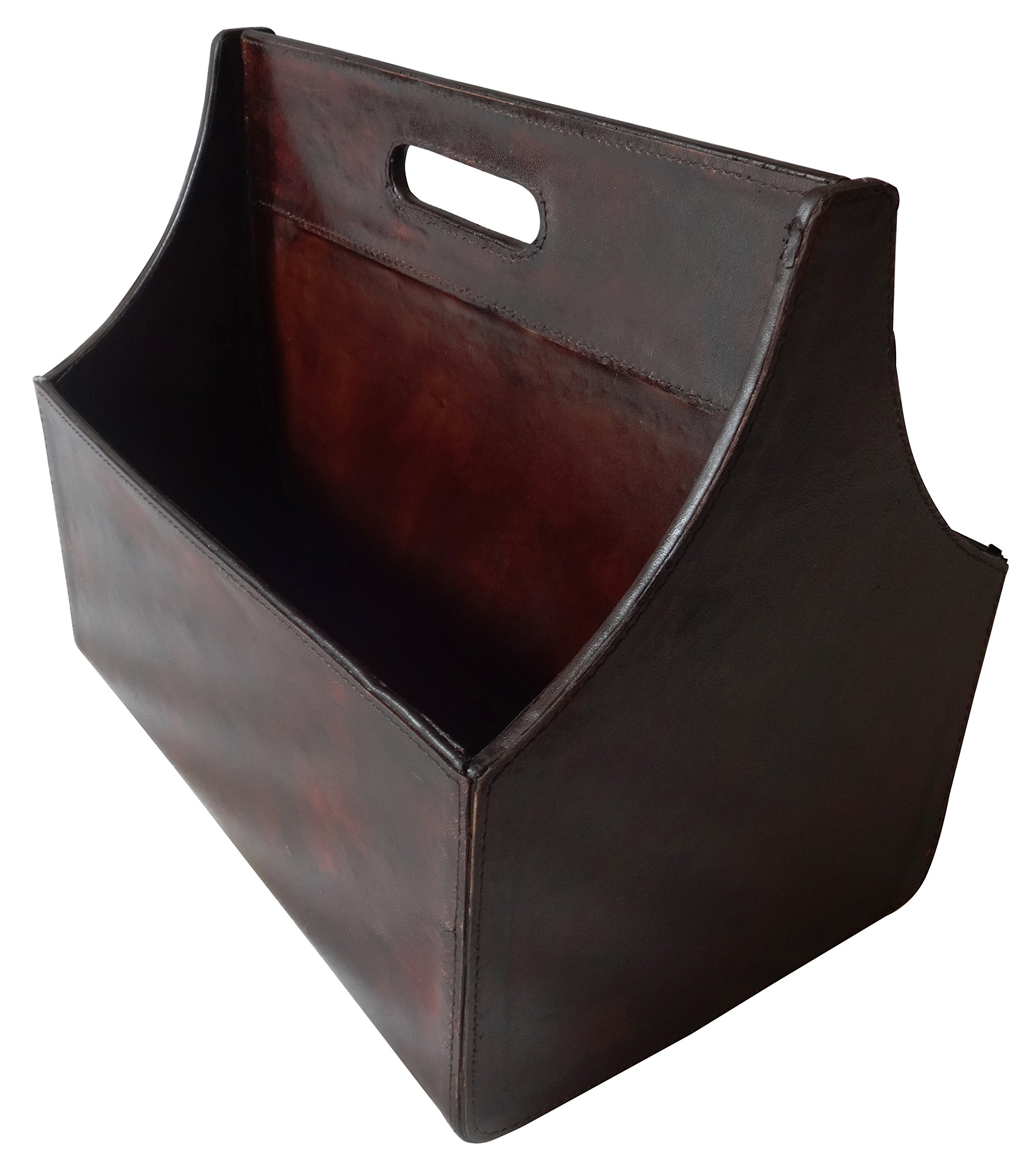 Real Leather Magazine Holder 14''W, 12''H 95065 by Deco 79