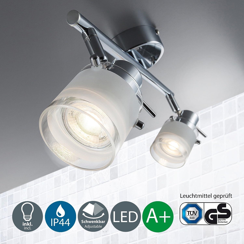 Lámpara LED de pared para baño I Protección contra el agua I Foco LED con bombilla GU10 I Color de la luz blanco cálido I Cromado con vidrio satinado I Interruptor de cordón I 230 V I IP44 I 1 x 5 W [Clase de eficiencia energética A+] B.K.Licht BKL1016