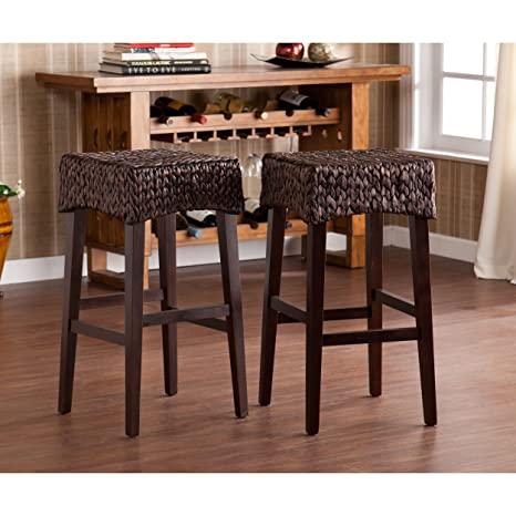Swell Water Hyacinth 26 Counter Stools Set Of 2 Deep Chocolate Brown Finish Gmtry Best Dining Table And Chair Ideas Images Gmtryco