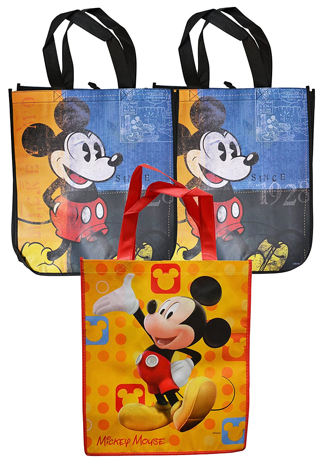 f3965424af Amazon.com  Disney Mickey Mouse Reusable Grocery Tote Bags Set of 3   Kitchen   Dining