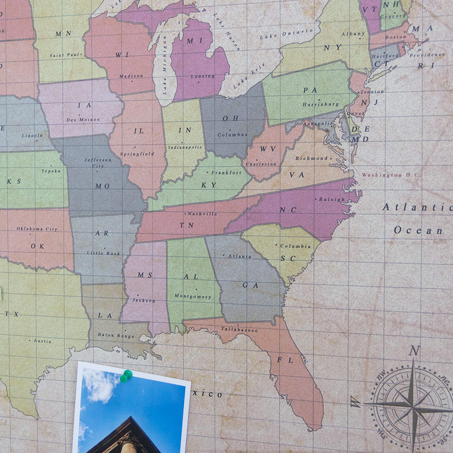 Maps Office Products State Flags And Travel Stickers Miss Wood Push Pin United States Travel Map Kit Includes Cork Us Map White 17 7 X 23 6 Inches For Travelers L