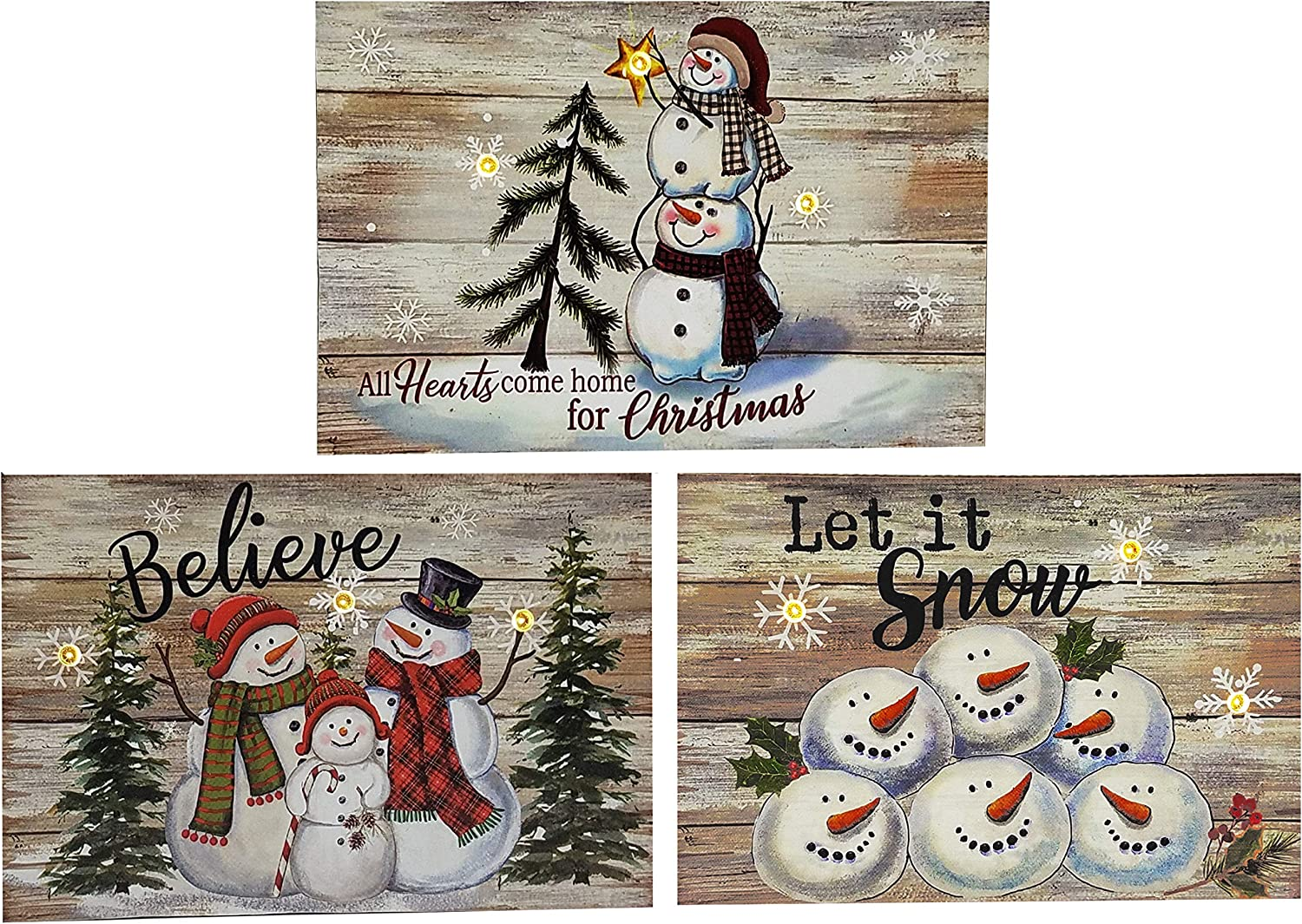 OSW LED Lighted Snowflakes and Snowman Wooden Block Plaques with Auto Timer, Set of 3 Christmas Decor Wall Signs or Tabletop Decorations Battery-Operated Light-Up