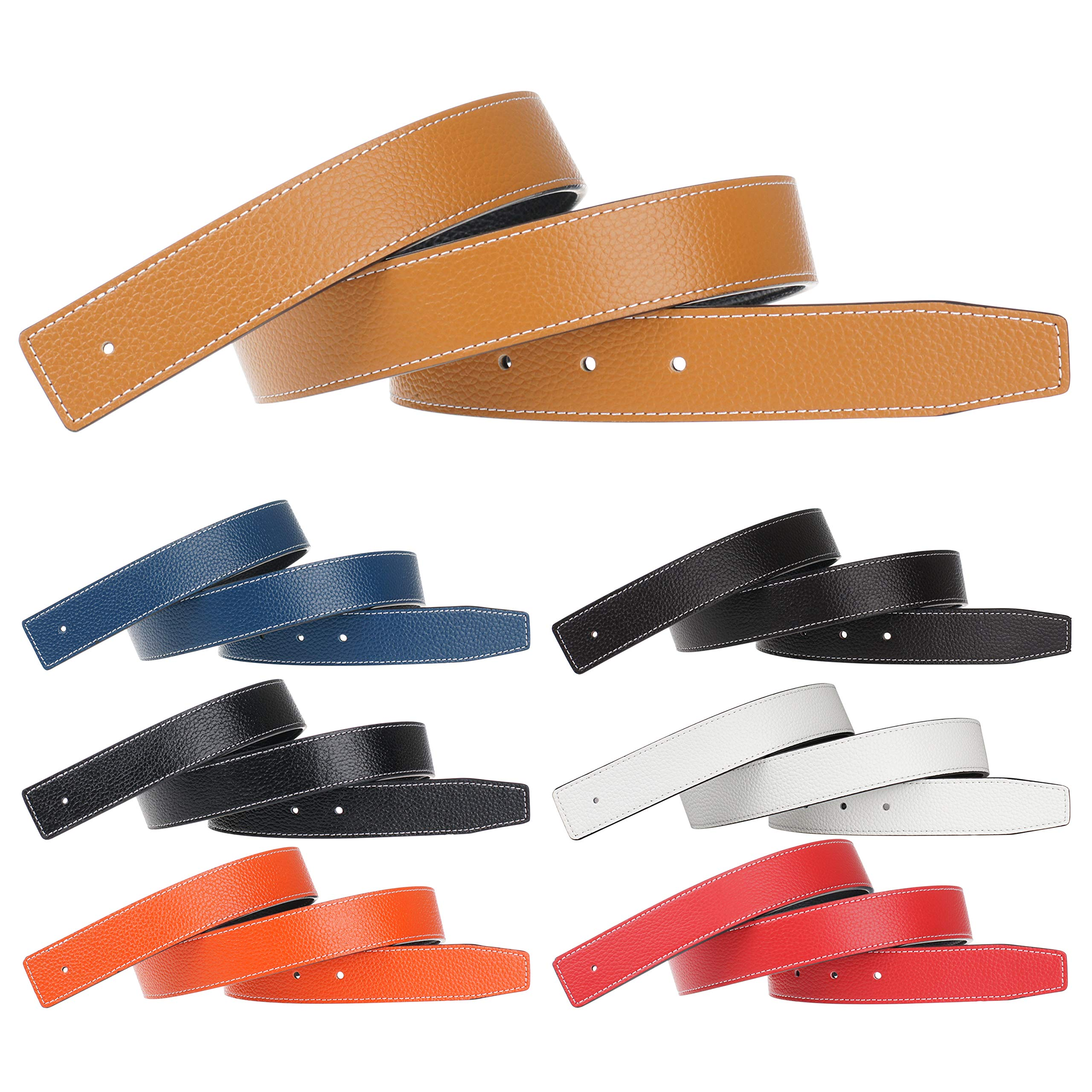 Genuine Leather Belt Replacement Leather Belt Strap Reversible Replacement Belt Strap Without Buckle 40inch 7 Pack