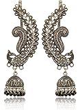 Geode Delight Silver Plated Earcuff Jhumki Earrings for Women
