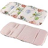 REVERSIBLE cotton & minky Pram INSERT, LINER covers 5pt Universal (pink FAIRY / baby pink fleece)