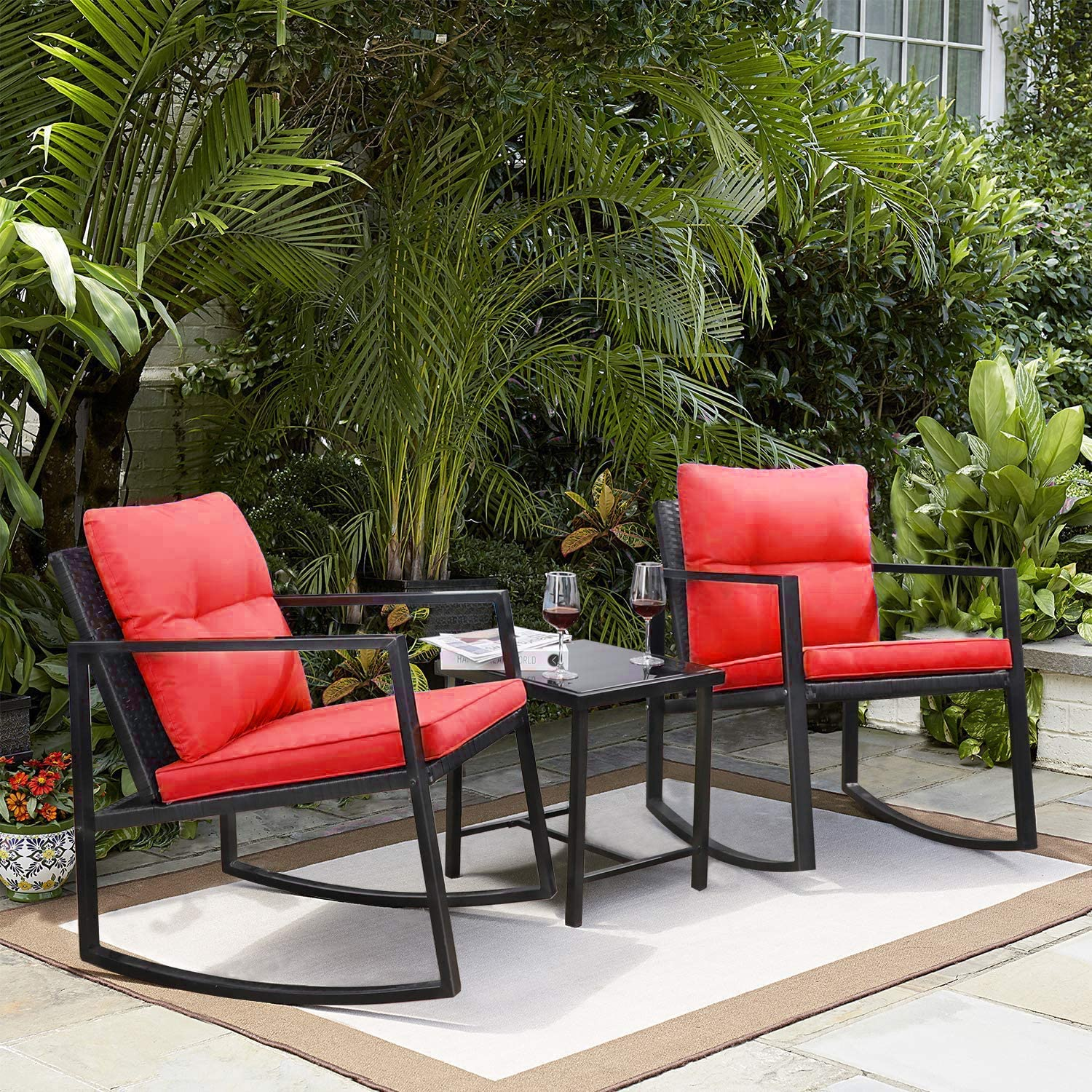 Greesum GS-3RRCSRD 3 Pieces Patio Furniture Set,Glass Coffee Table, Red