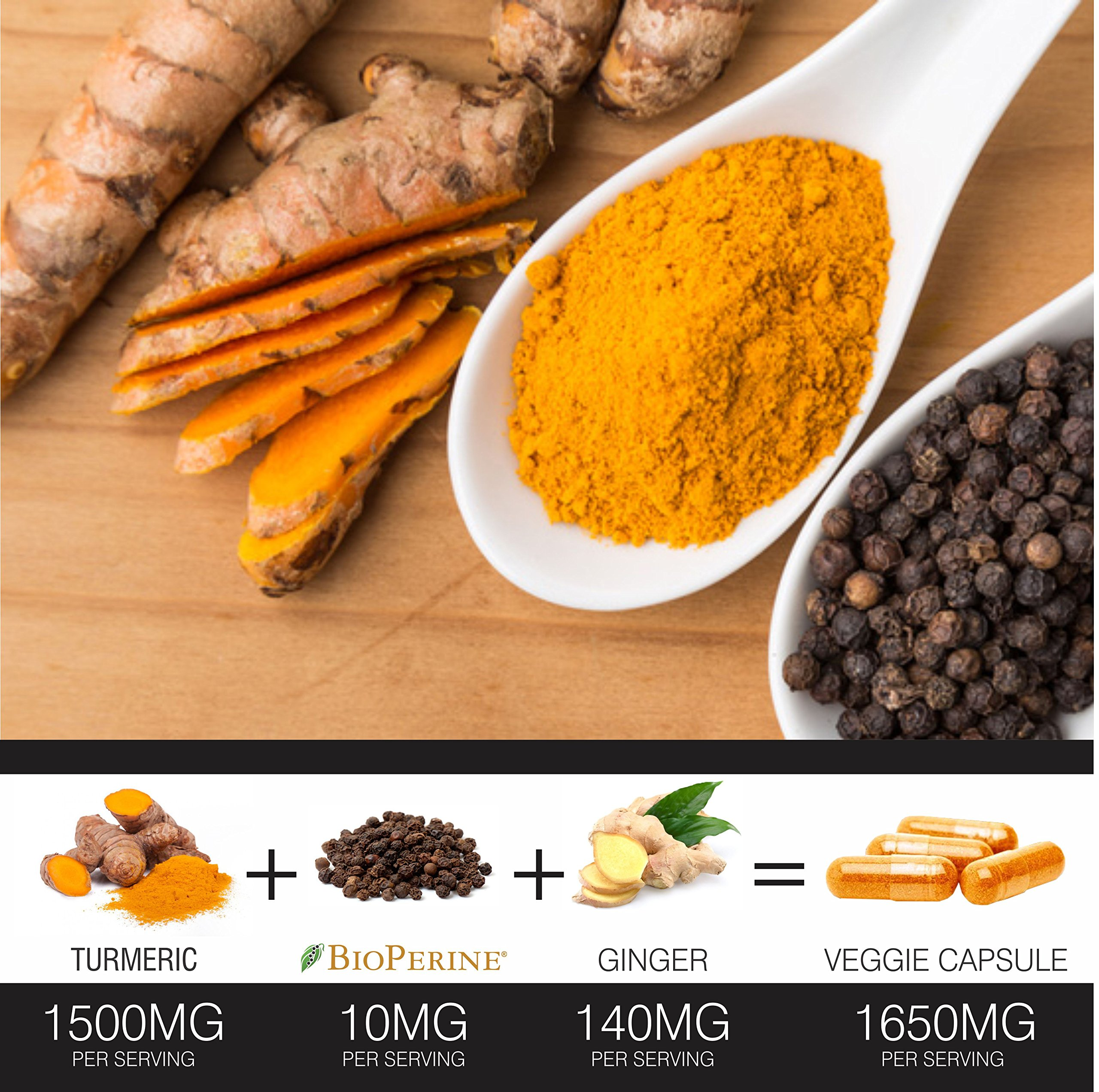 Turmeric Curcumin with BioPerine Black Pepper and Ginger - Made in USA - 120 Vegetarian Capsules for Advanced Absorption, Cardiovascular Health, Joints Support and Anti Aging Supplement (120 Capsules) by FineVine (Image #5)