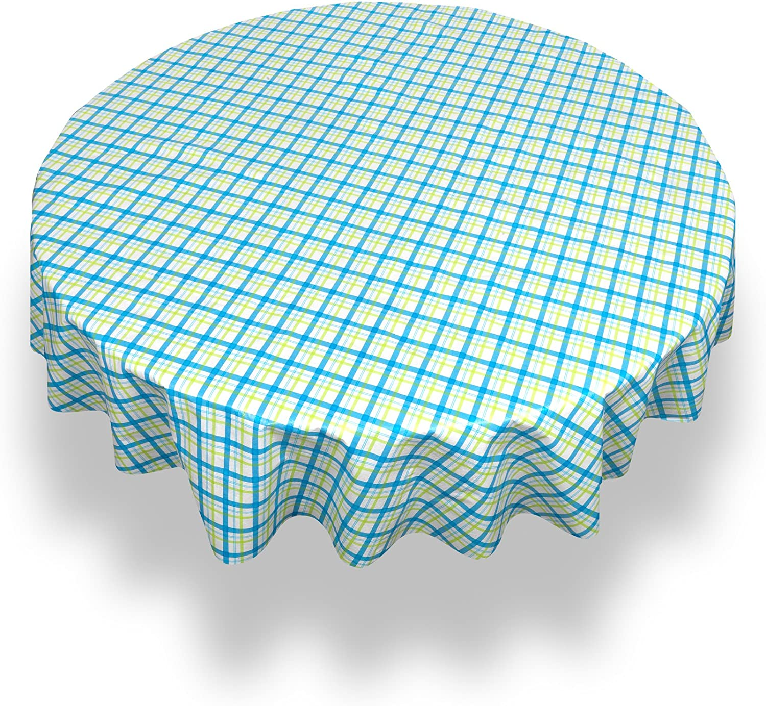 """Carnation Home Fashions Country Check Round Vinyl Flannel Backed Tablecloth, 60"""", Blue"""