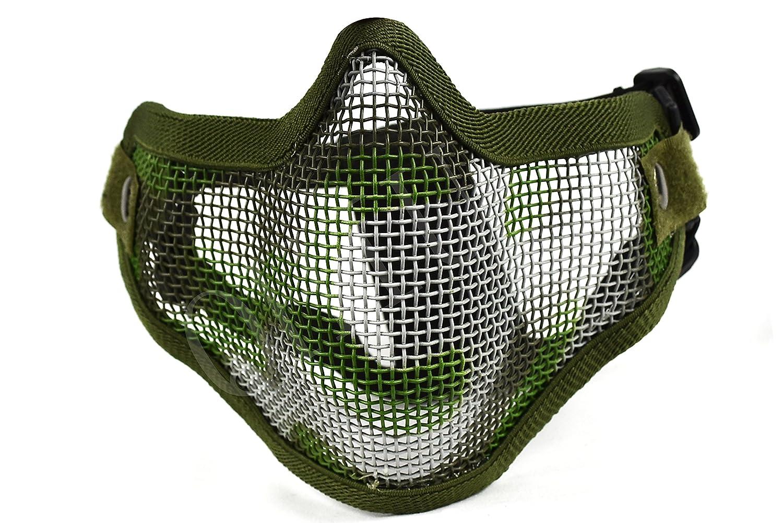 QHIU M/áscara tactica de Media Cara Alambre de Acero Plegable Militar Protecci/ón Equipo para Paintball Airsoft CS Deportes al Aire Libre