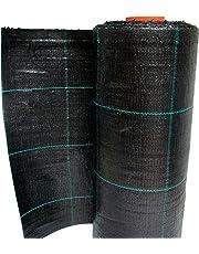 Telo pacciamatura nero quadrettato verde in polipropilene antistrappo rotolo 100mt (1,05 mt)