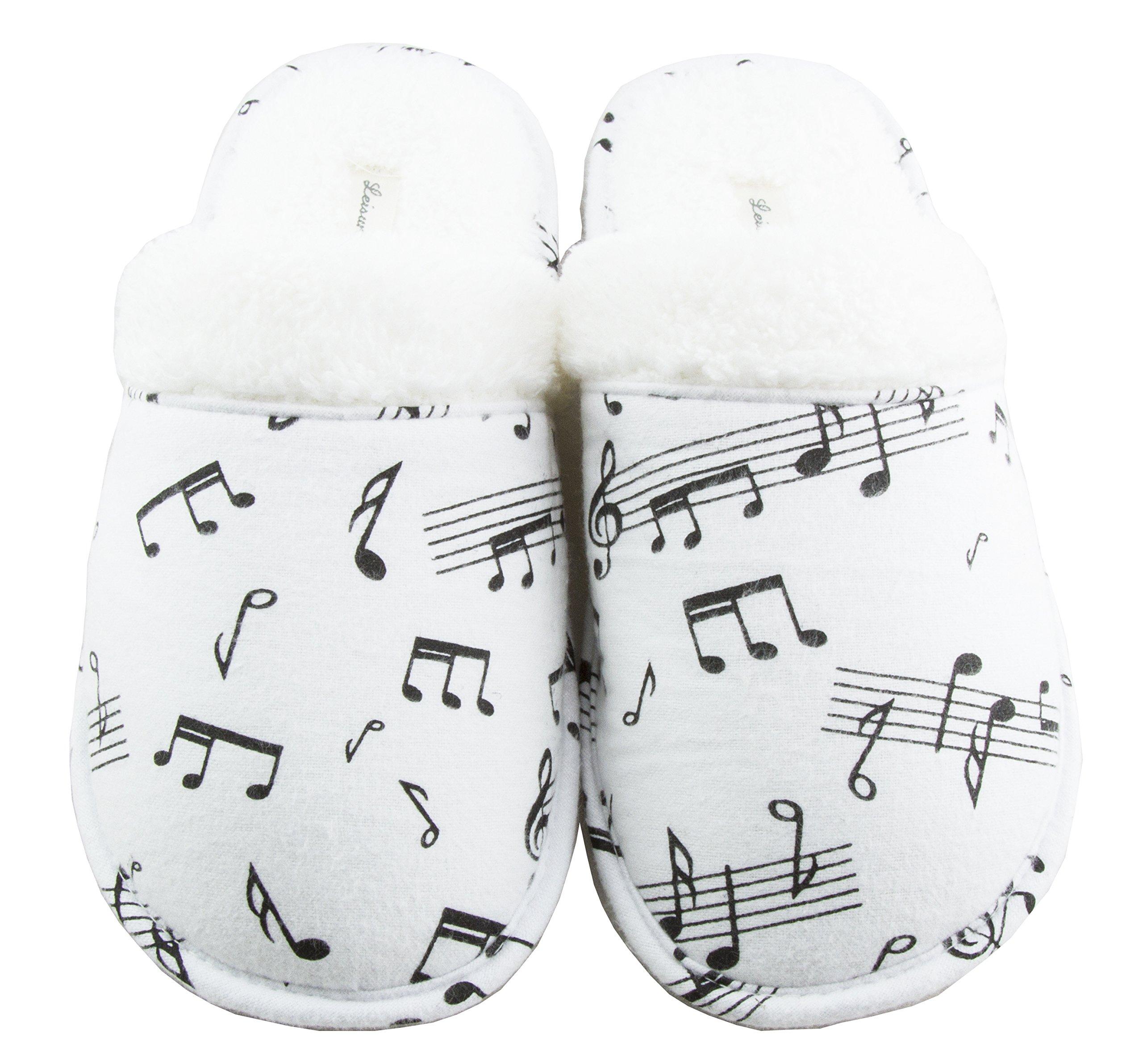 Leisureland Women's Cotton Flannel Cozy Slippers Music Notes (Medium)