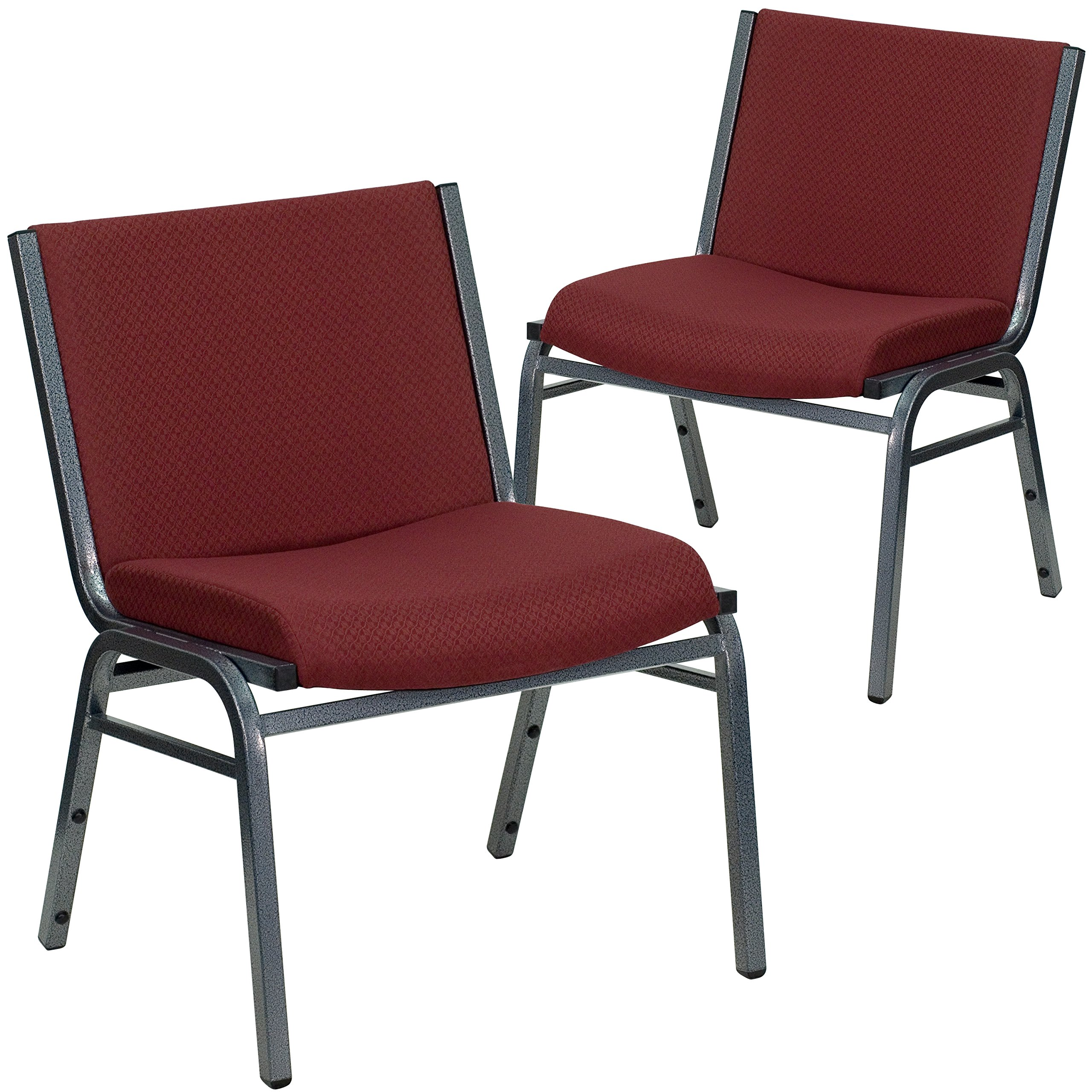 Flash Furniture 2 Pk. HERCULES Series Big & Tall 1000 lb. Rated Burgundy Fabric Stack Chair