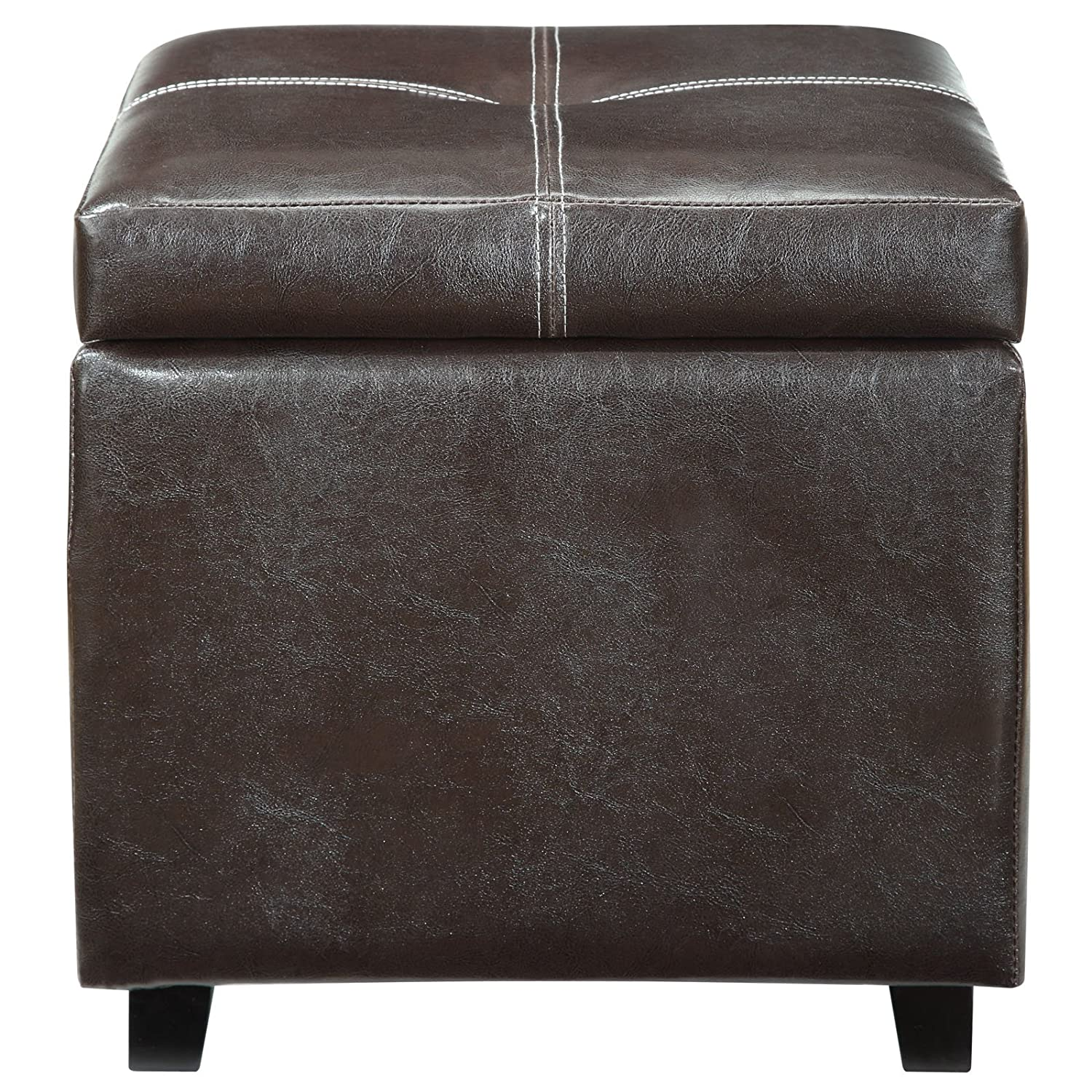Amazon.com Modway Treasure Espresso Vinyl Storage Cube Ottoman Kitchen u0026 Dining  sc 1 st  Amazon.com & Amazon.com: Modway Treasure Espresso Vinyl Storage Cube Ottoman ...