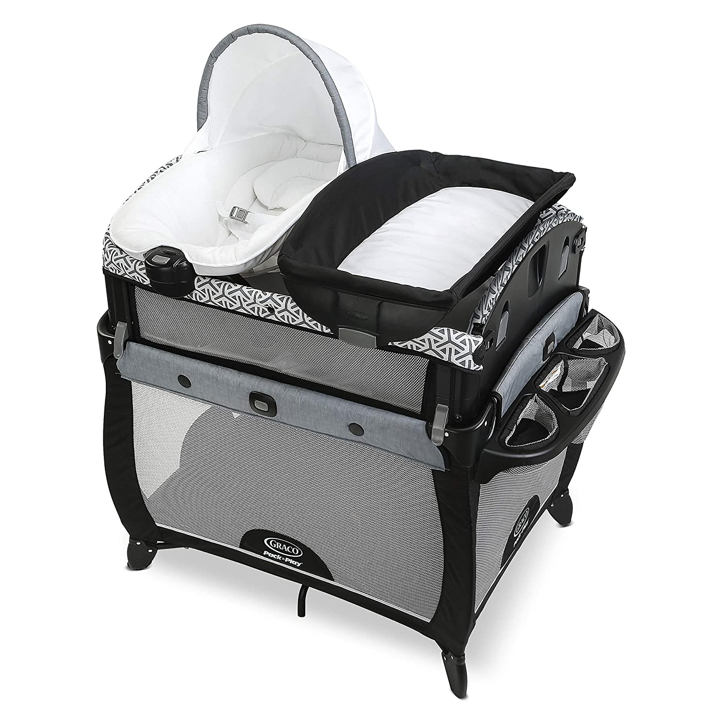 Graco Pack n Play Newborn2Toddler Playard Includes Portable Napper, Raised Infant Bassinet, and Diaper Changer, Mahan