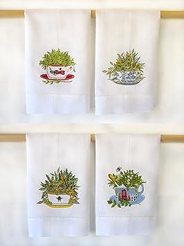 Pekín bonamart tazas con bordado de flores blanco toallas de invitados de (Juego de 4): Amazon.es: Hogar