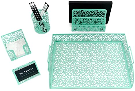 Blu Monaco Mint Green Desk Organizer For Women   5 Piece Desk Accessories  Set   Letter