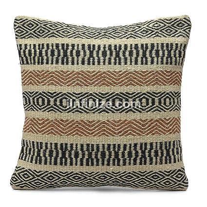 Funda de cojín de lana de yute india, hecha a mano, cuadrada ...