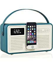 VQ Retro Mk II DAB+ Digital Radio with FM, Bluetooth, 8 Pin Dock & Alarm Clock - Compatible with Apple iPhone – Teal