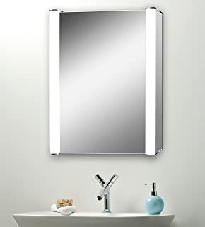 Led Illuminated Bathroom Mirror Cabinet With Demister Heat Pad Shaver And Sensor Switch With Lights