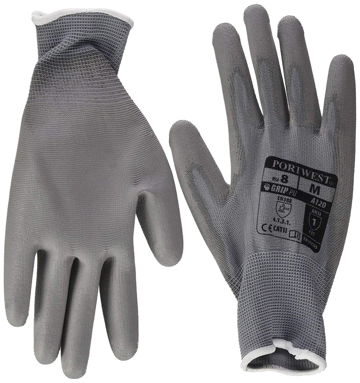 Portwest A120GRR Small PU Palm Gloves 12 Pack Grey