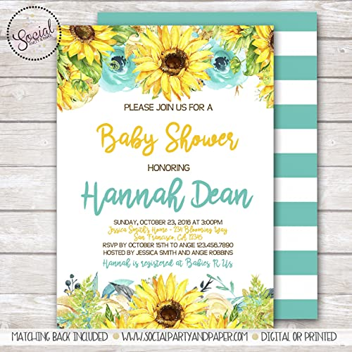 Amazon Com Sunflowers Baby Or Bridal Shower Invitation Handmade