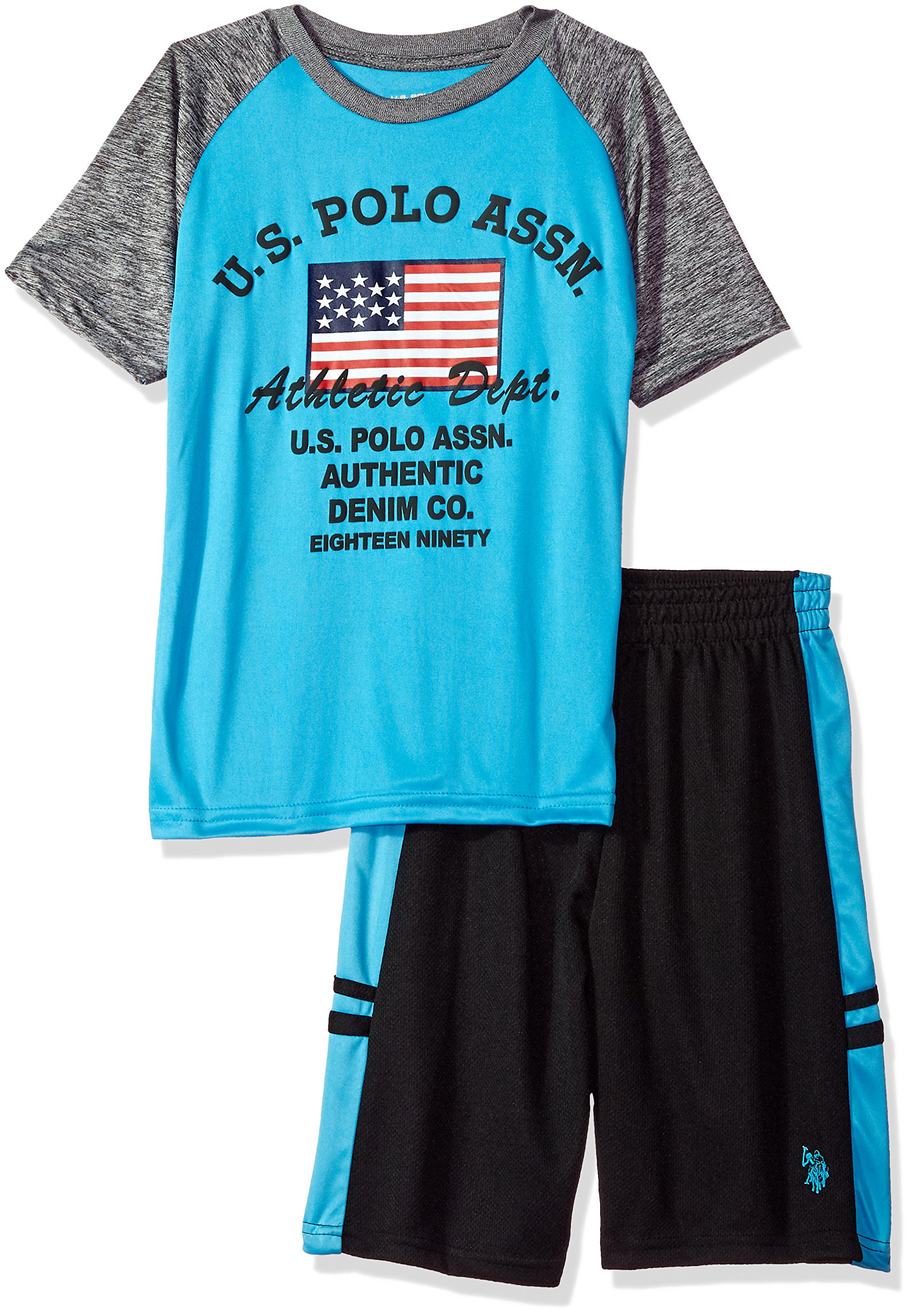 U.S. Polo Assn. Little Boys' T-Shirt, Tank and Mesh Short Set, Athletic Dept Taping Sewn Top Turquoise, 5/6