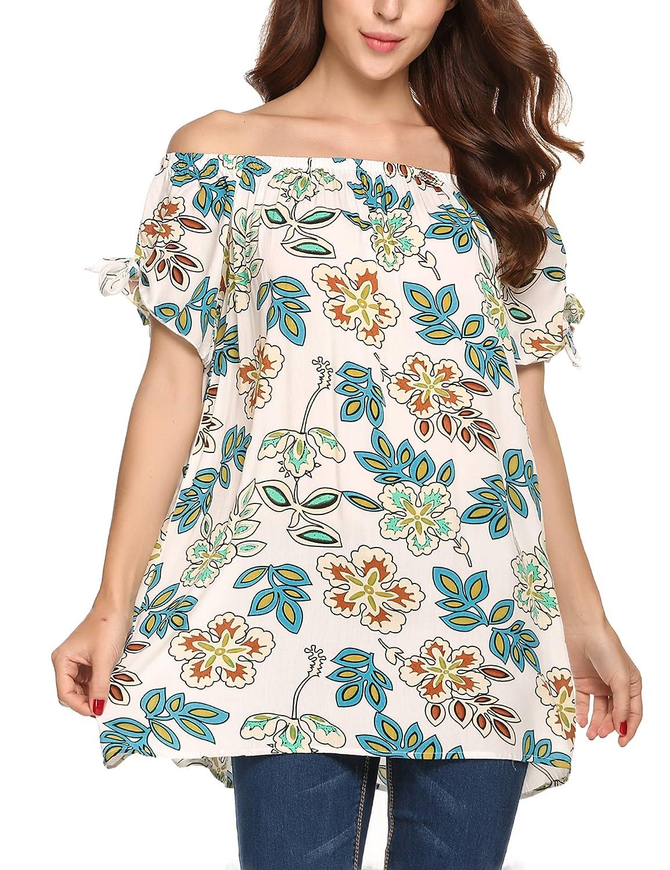 Zeagoo Damen Schulterfrei Bluse mit Blumenmuster Cold Shoulder Locker Loose Fit Shirt